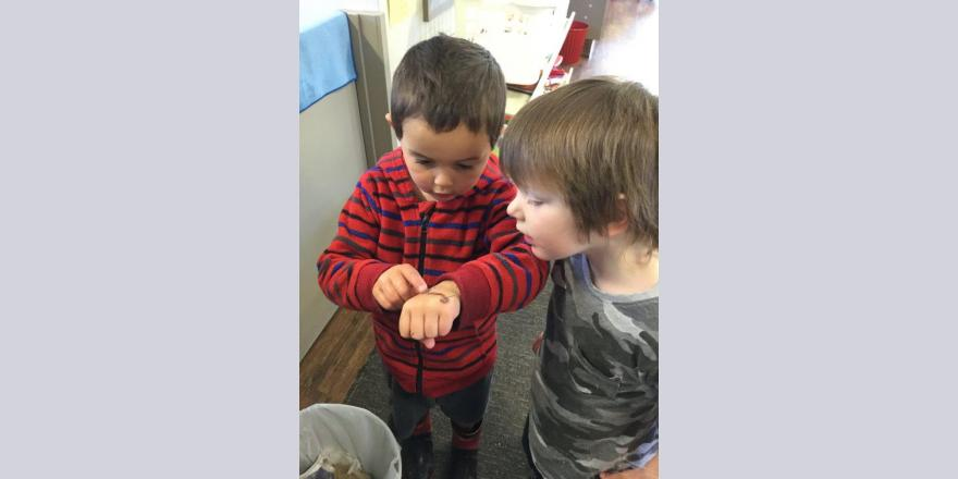 two boys playing at kindergarten