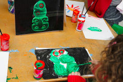 Colourful painting of a taniwha by one of our super preschool stars